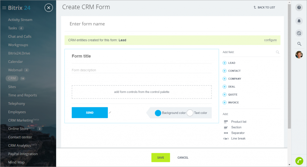 Add a new CRM web form
