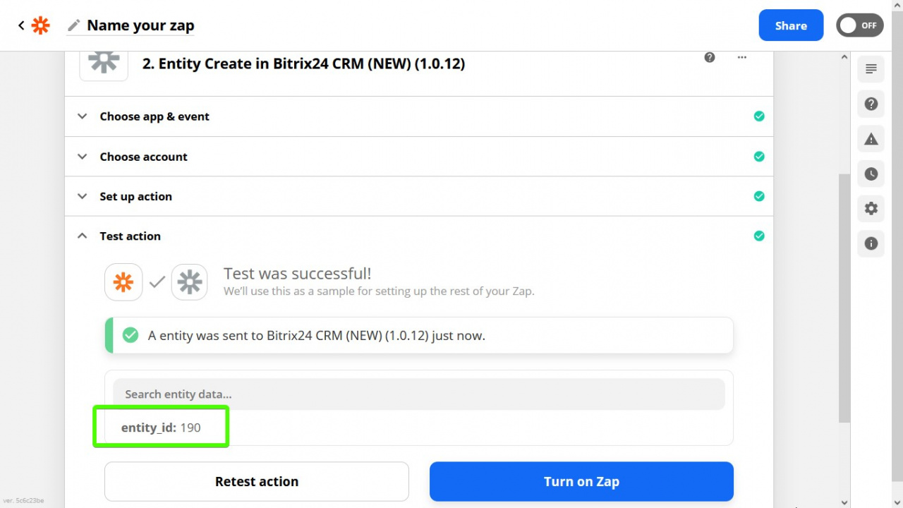 > Zapier đã tạo Khách hàng tiềm năng với ID 190 trong Bitrix24 CRM của chúng tôi