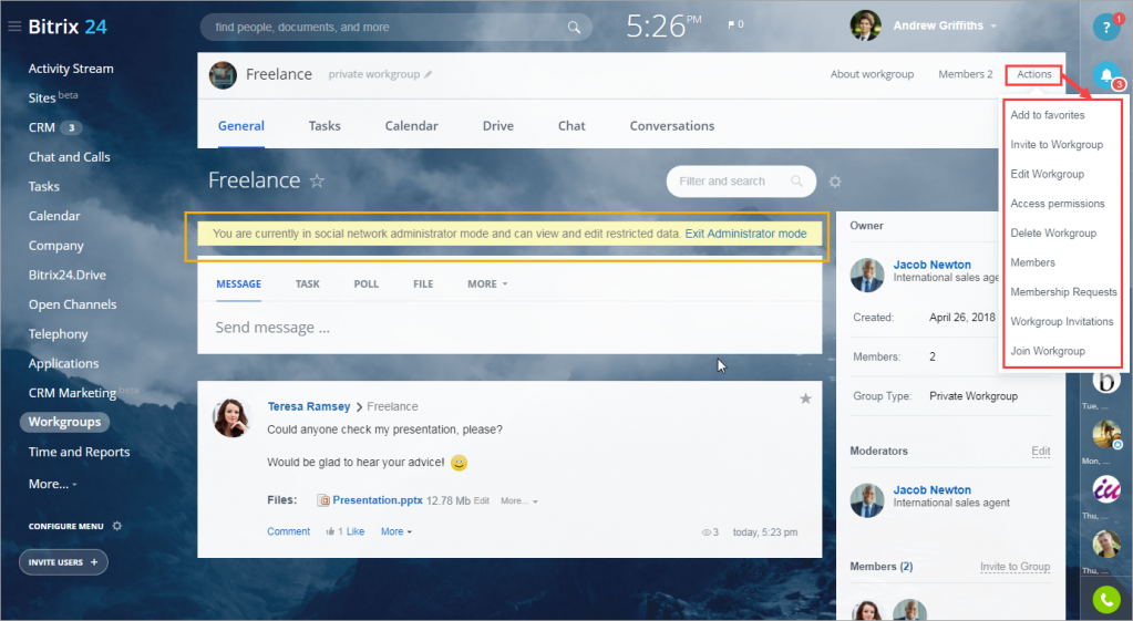 Manage all account workgroups