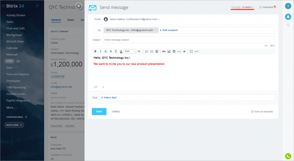Email templates in Bitrix24 CRM