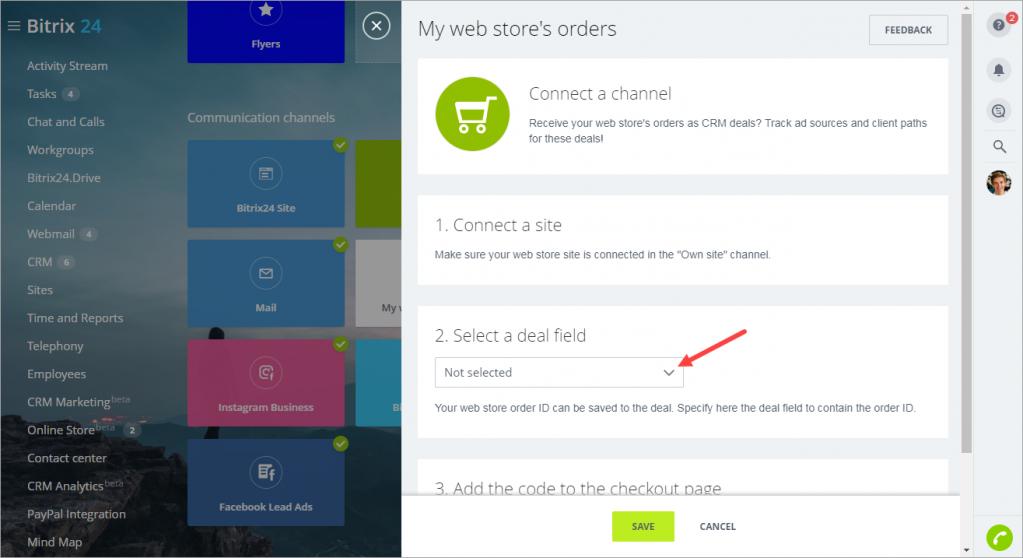 Kết nối cửa hàng trực tuyến của bạn với Sales Intelligence
