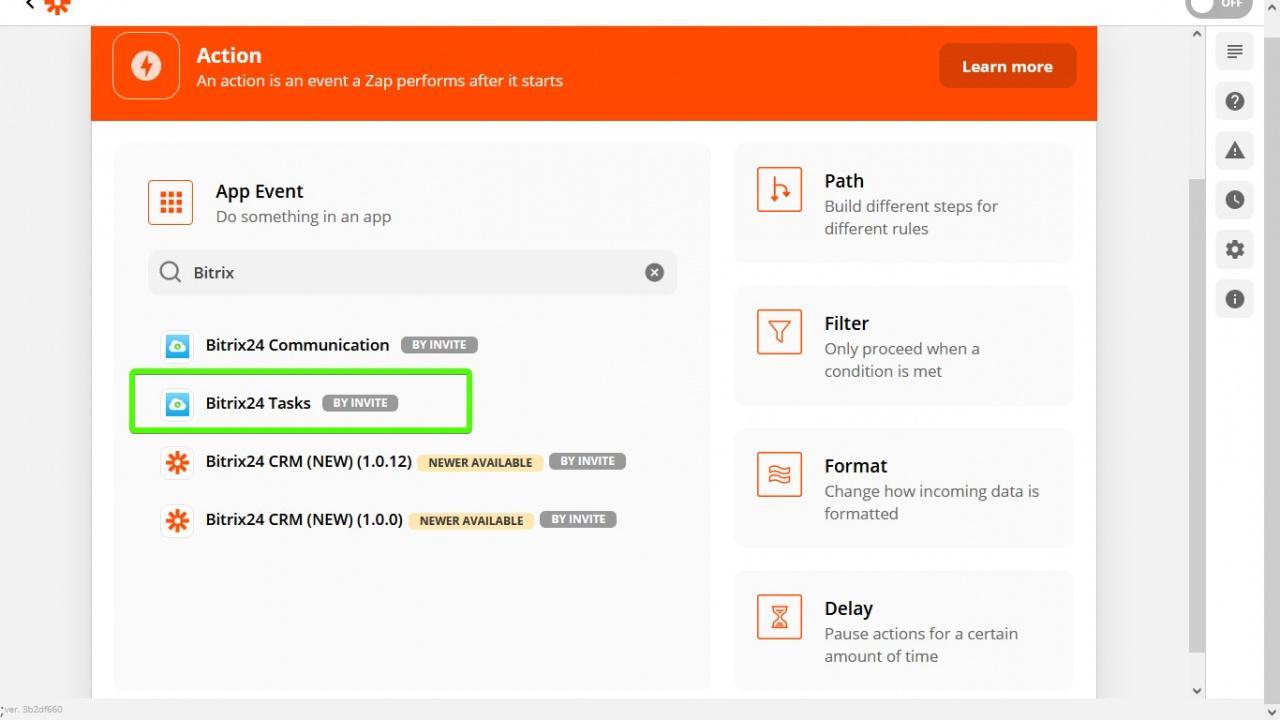 > Chọn ứng dụng Bitrix24 Tasks