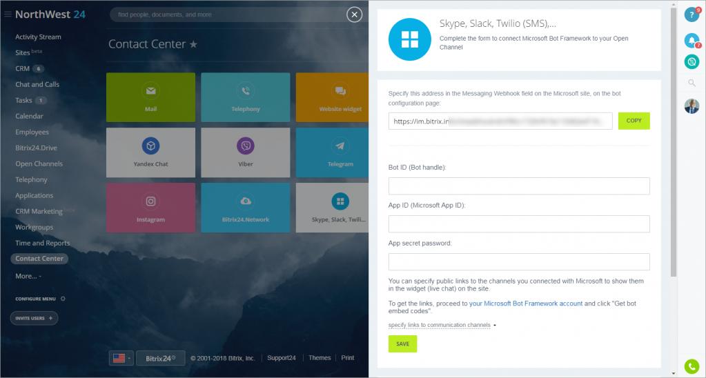 Connect Skype, Slack, Kik, Twilio, GroupMe, SMS, email, etc  to