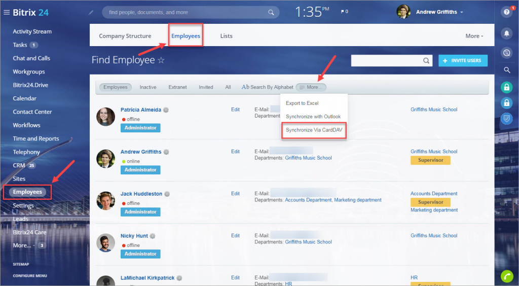 Synchronize employees contacts with iOS Contacts app