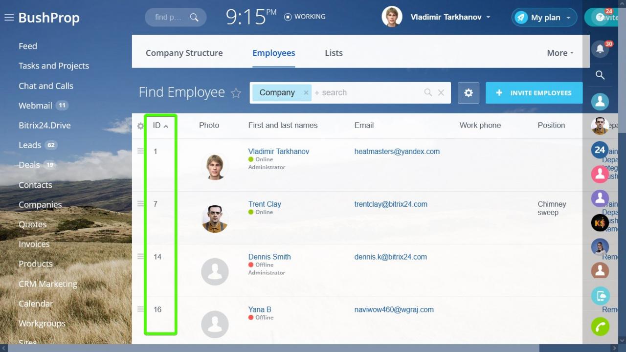 tìm ID của người dùng Bitrix24 của bạn trong phần Nhân viên