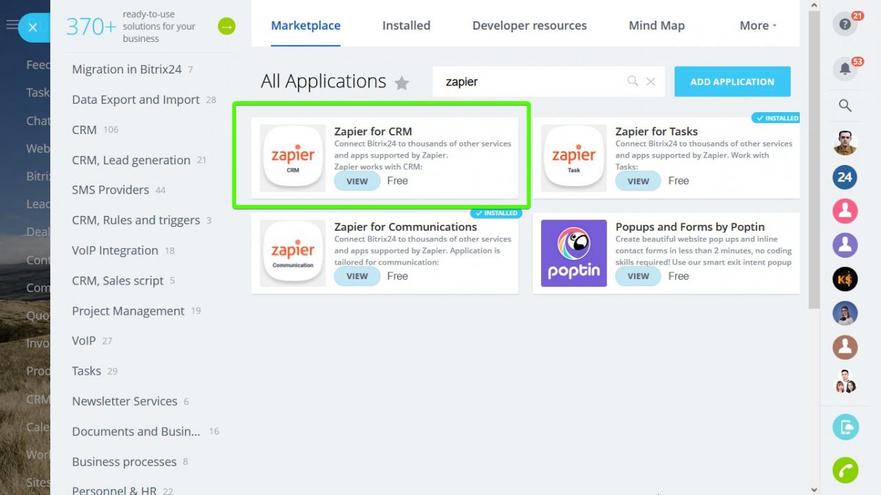 Tìm ứng dụng trong Bitrix24 Market: