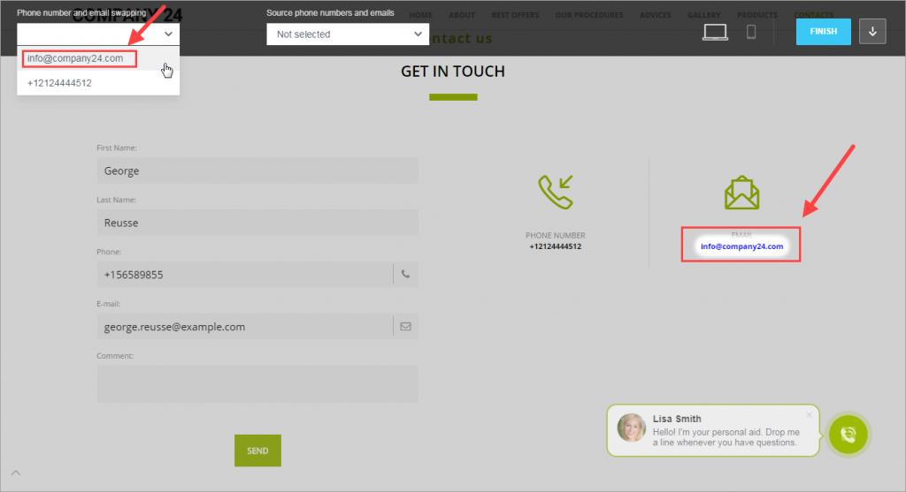 Hoán đổi địa chỉ email hoặc số điện thoại trên trang web
